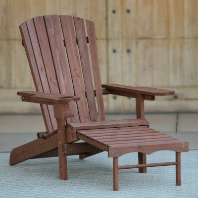 Outdoor Coral Coast Big Daddy Adirondack Chair With Pull Out Ottoman And  Cup Holder