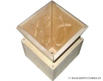 Hand made wooden mold to make cottage cheese and curd for Eastern. In the sides typical orthodox pattern. Practical  2in1 -mold.