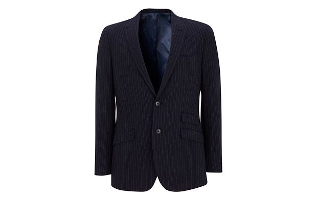 """Pinstripe Blazer. """"The classic pinstripe of this sleek double button blazer makes it a style you'll never tire of."""""""