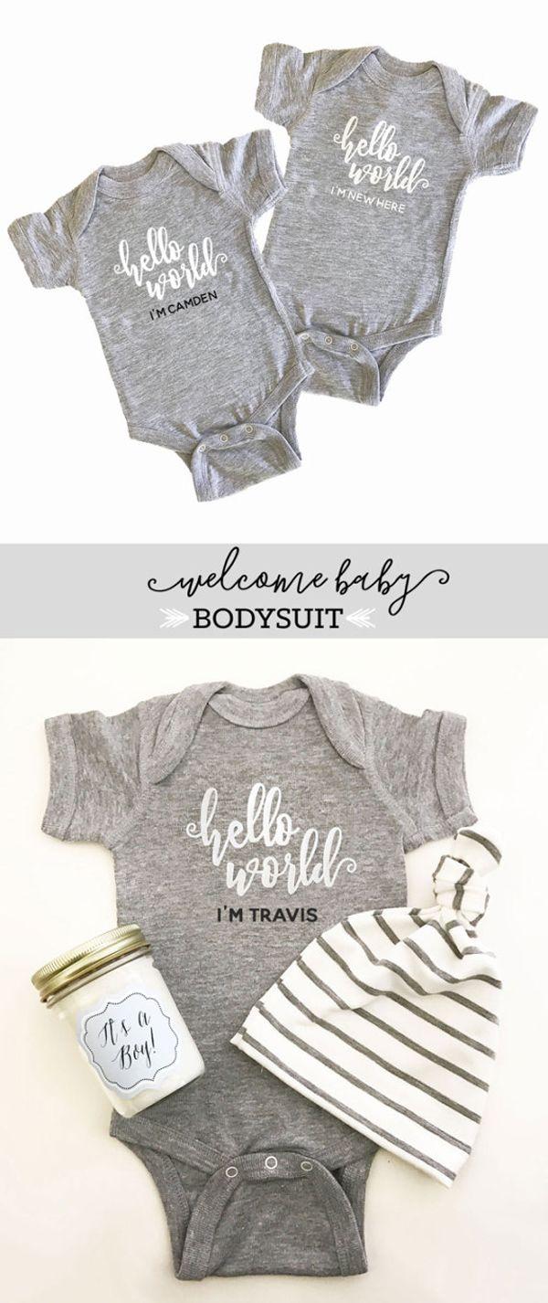 Personalized Baby Gifts - Custom Baby Bodysuit - Personalized Baby Shirt -  Coming Home Outfit - Baby Hello World Bodysuit - Newborn Onesie - Gender  Neutral ... 23ce86c4c2ec