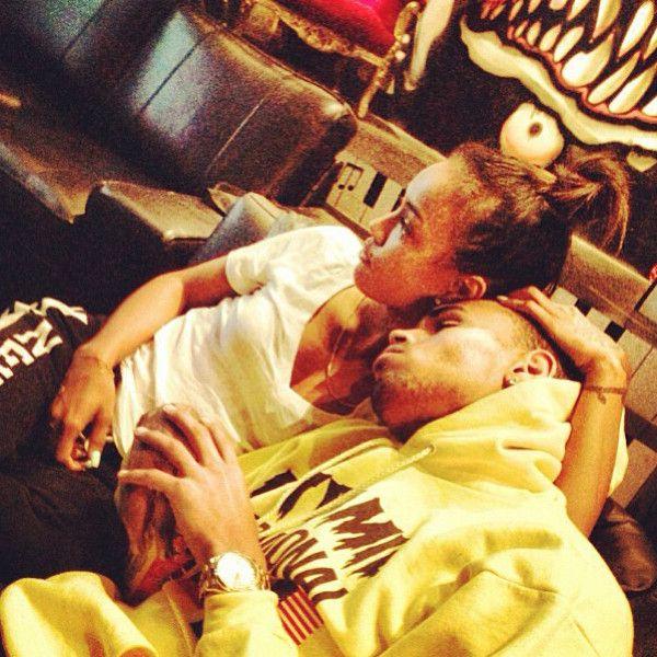 Chris Brown, Karrueche Tran- the way he's snuggling her is too cute