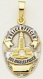 "Jewelry Factory - LAPD Los Angeles Police Department 7/8"" Medium Badge 14kt Gold Pendant Two-Tone #la4"