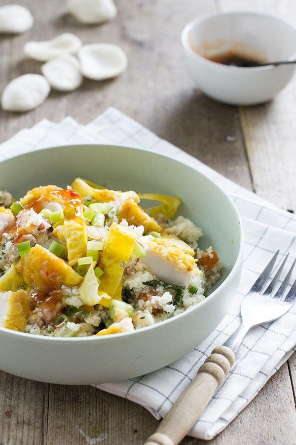 Bloemkoolrijst met kip en sweet chili saus | makkelijke maaltijd | gezond recept | via brendakookt.nl