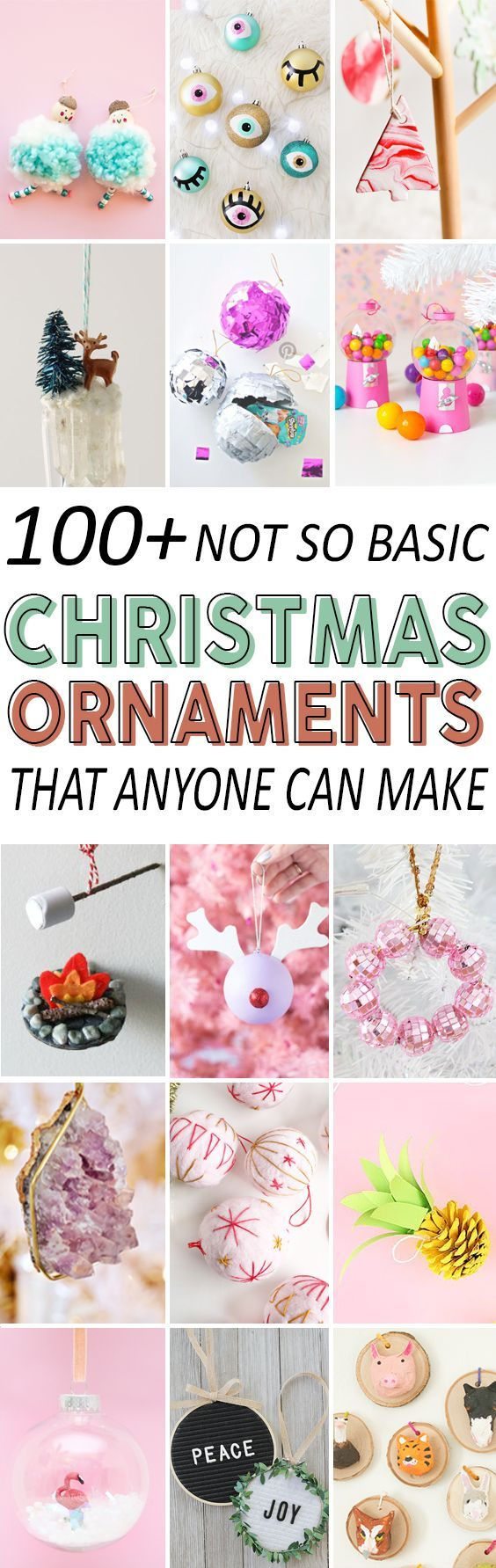 Check out these 100+ ideas for handmade ornaments this Christmas. #diy #christmas #ornaments