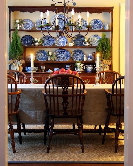 Welsh Dresser Windsor Chairs Blue Transferware
