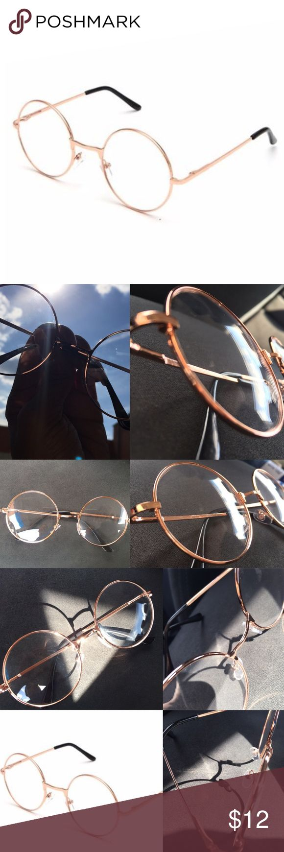 ✨Rose Gold Round Frame Glasses✨ Must have fashion glasses! No prescription. Rose gold tone. Never worn! Clear lenses. Black cover on ends of legs. Great quality and condition! Nasty Gal Accessories Glasses