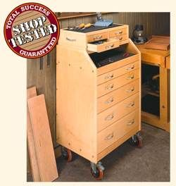 free plans woodworking resource from Woodsmith - tool cabinets,carts,mobile,wheels,drawers,wooden,free woodworking plans,projects,patterns