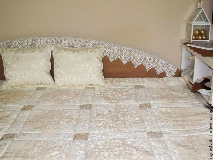 """Купить Покрывало в лоскутной технике """"Благородное"""" - покрывало на кровать, покрывало пэчворк, стеганное покрывало, белый"""