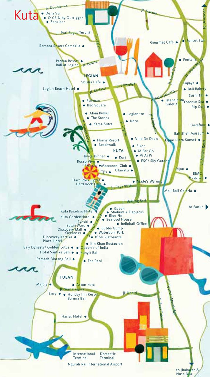 Astrid Prasetianti - Map of Kuta, Bali for hellobali magazine