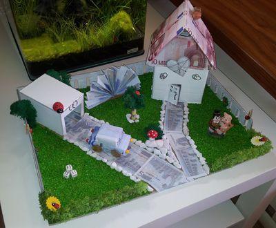 Hochzeitsgeschenk Haus mit Garten aus Geld – Hochz…