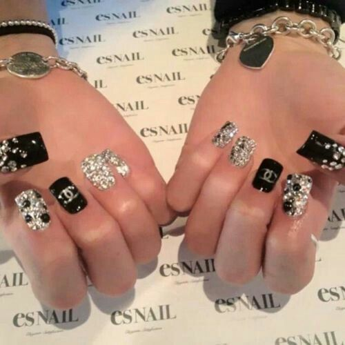 Chanel black gold glitter rhinestones nail designs