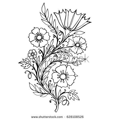 Decorative branch with flowers. The illustration is perfect for the design of postcards, packages, textiles, stationery and other design