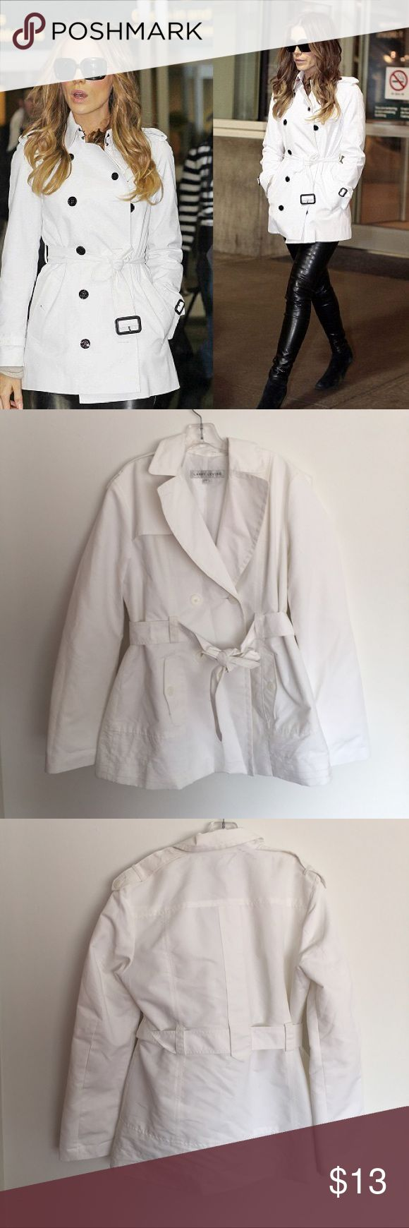 ⭐️ 30% OFF BUNDLES ⭐️ Preowned Larry Levine short white trench coat some marks likely removed with wash. Larry Levine Jackets & Coats Trench Coats