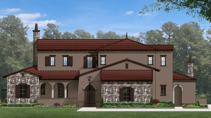 Home Plan HOMEPW77099 - 5357 Square Foot, 5 Bedroom 5 Bathroom + Mission Home with 3 Garage Bays   Homeplans.com