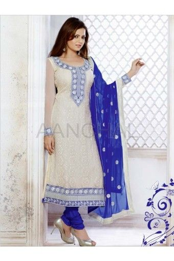 Off White Faux Georgette Kameez With Contrasted Blue Churidar And Dupatta
