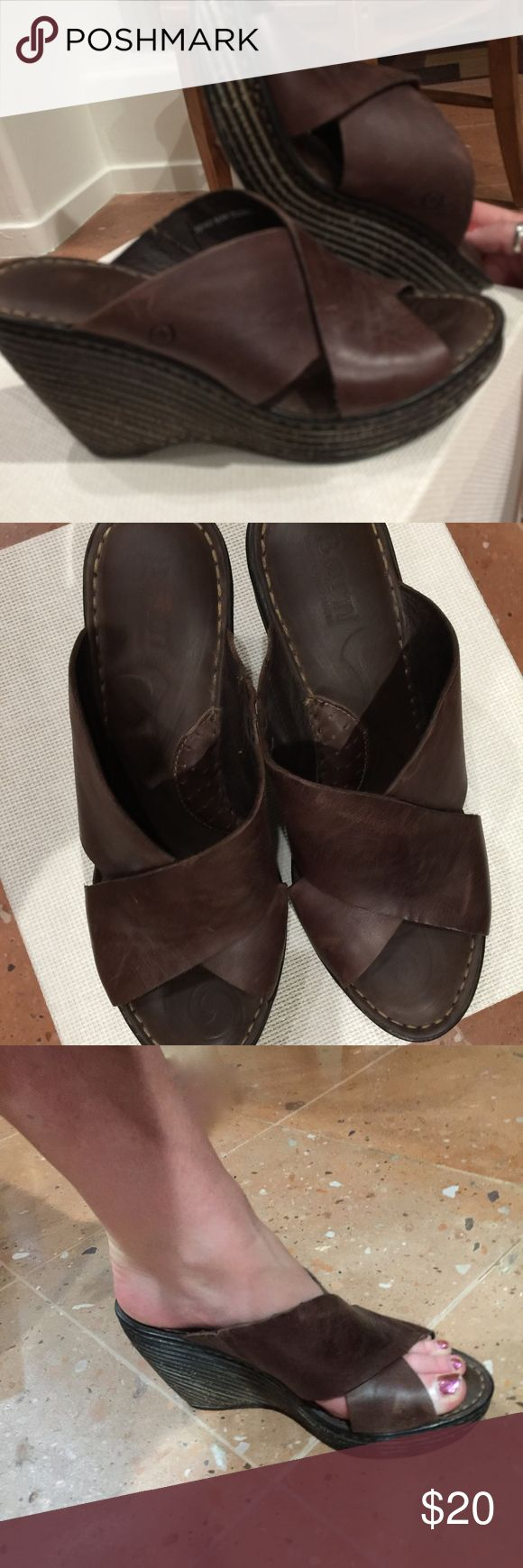 Born wedge open toe mules Born open toe wedge mule - really comfortable only wore twice love them (just don't have anywhere to where them too) leather - elastic insert on one side - bottoms are not dirty that is the design say size 10 - model 9 / 9.5  Borns do run small Born Shoes Wedges