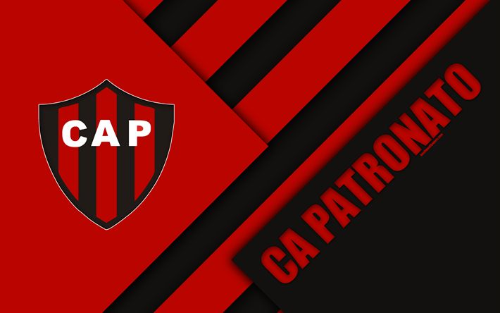Download wallpapers CA Patronato, Argentine Football Club, 4k, red black abstraction, material design, Parana, Argentina, football, Argentine Superleague, First Division