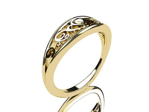Heart filigree Diamond ring Yellow gold by TorkkeliJewellery, $1190.00