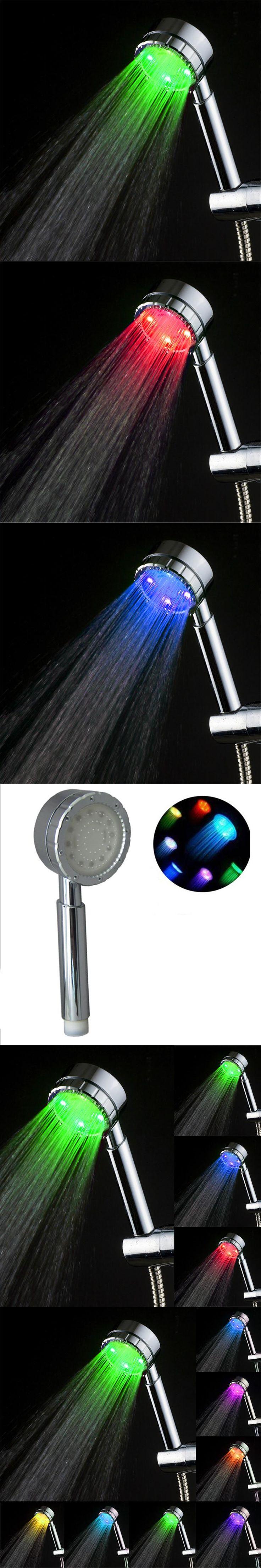 48 pcs Round Romantic LED Shower Head Bathroom 7 Colors Big Handheld Shower Nozzle Rainfall