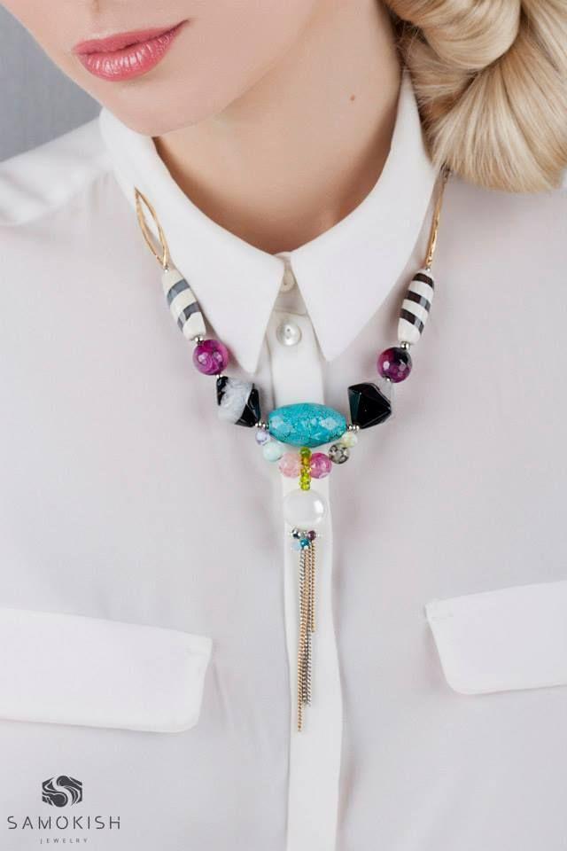 Колье ручной работы Aqua Multi с агатами и бирюзой. 1650 ₴. #samokish #jewelry