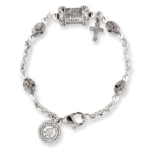 2 MM Silver-tone Mary pray for us 7.5in Cross Bracelet - 7.5 IN - Vatican Library Religious Collection The Vatican Library Collection. $89.00. Created using only up to date manufacturing techniques, ensuring excellent overall quality. Rush delivery options available. Timeless in style...simply elegant.. This item qualifies for FREE-SHIPPING with purchase of over $30.00. All collections include a complimentary gift box, perfect for gift giving.. Save 71% Off!