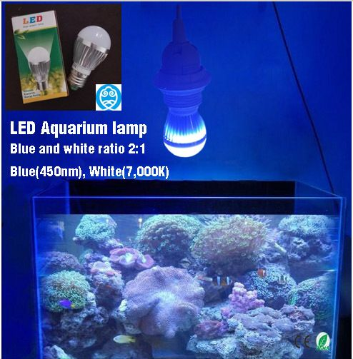LED Aquarium Lamp E27 AC85-265V 6W, Provide Fish Tank Illumination And Plants Grow Lights,Blue & White