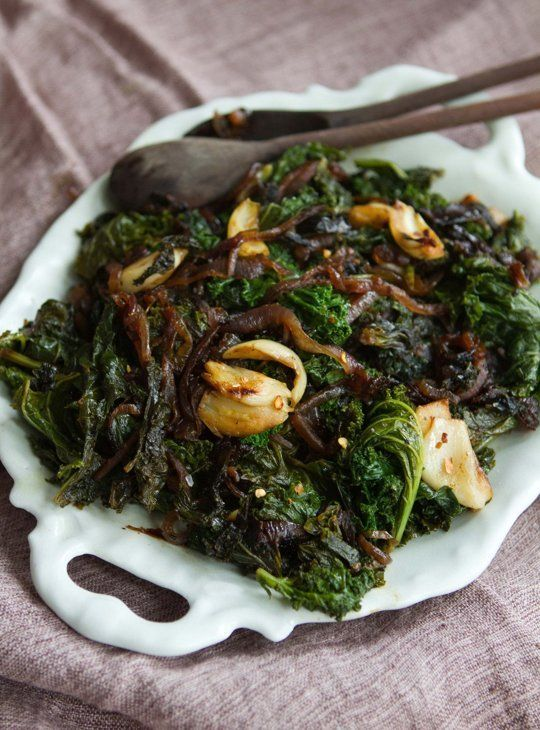 Recipe: Slow-Cooked Kale with Smashed Garlic & Red Onions Recipes from The Kitchn
