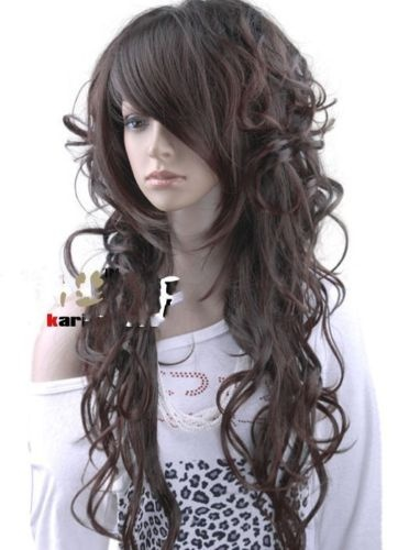 "2012 Popular"" New Stylish Long Curly Dark Brown Cosplay Girl Hair Wig sp70      ---- for one of my bridesmaids who are in a rush who missed their hair appointment and needs their makeup done ASAP!"
