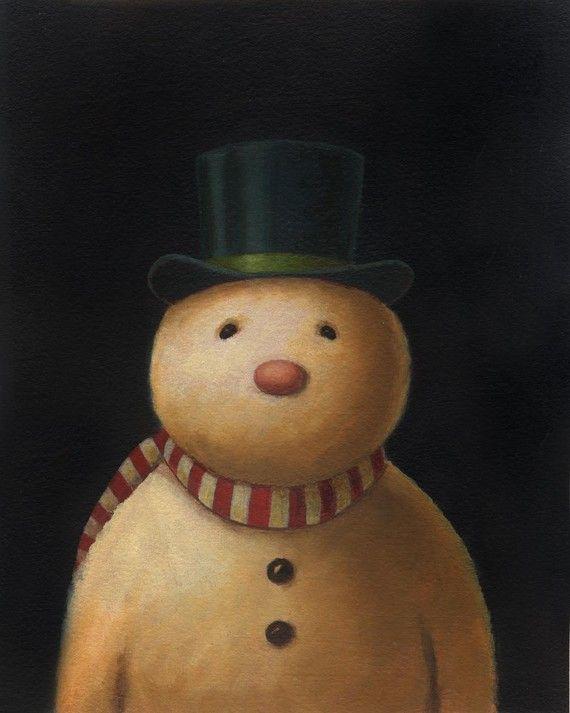 Snowman Print - Christmas Snowman Portrait in Top Hat - Candy Cane Scarf - Snowman Art ©LISA ZADOR