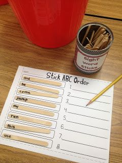 LOVE THIS!! makes ABC order a bit more fun! any grade--any words...10 Popsicle stick center activities!
