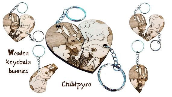 Bunnies couple keychain laser name  #chibipyro #artisan #craft #shop #leather #wood #woodburning #fire #fan #art #artisan #craft #handmade #etsy #shop #pyro #pyrography #burn #burning #fire #drawing #woodburner #cork #recycled #purse #comb #hairbrush #note #book #sketch #tobacco #pouch #bookmark #pochette #box #pencil #case #pendant #keychain #fox #cat #animal #kawaii