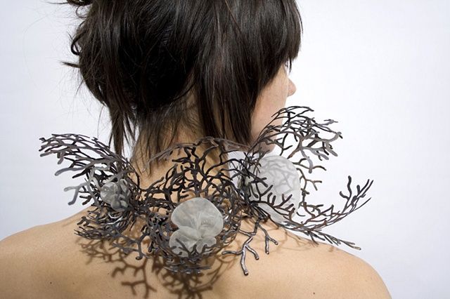 Copper & Organza Neckpiece with intricate organic patterns; contemporary jewellery design // Cheryl Eve Acosta
