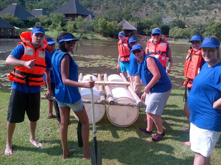 Upstream Advertising on Teambuilding with Laser Adventures. Doing Raft Building.