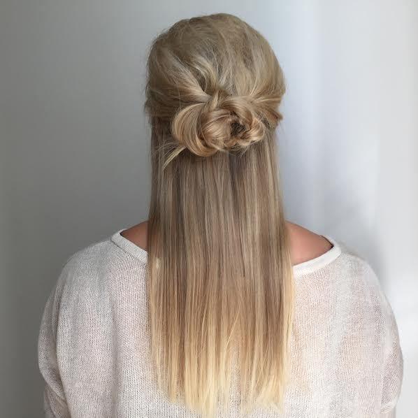 Half updo. Simple braided bun.