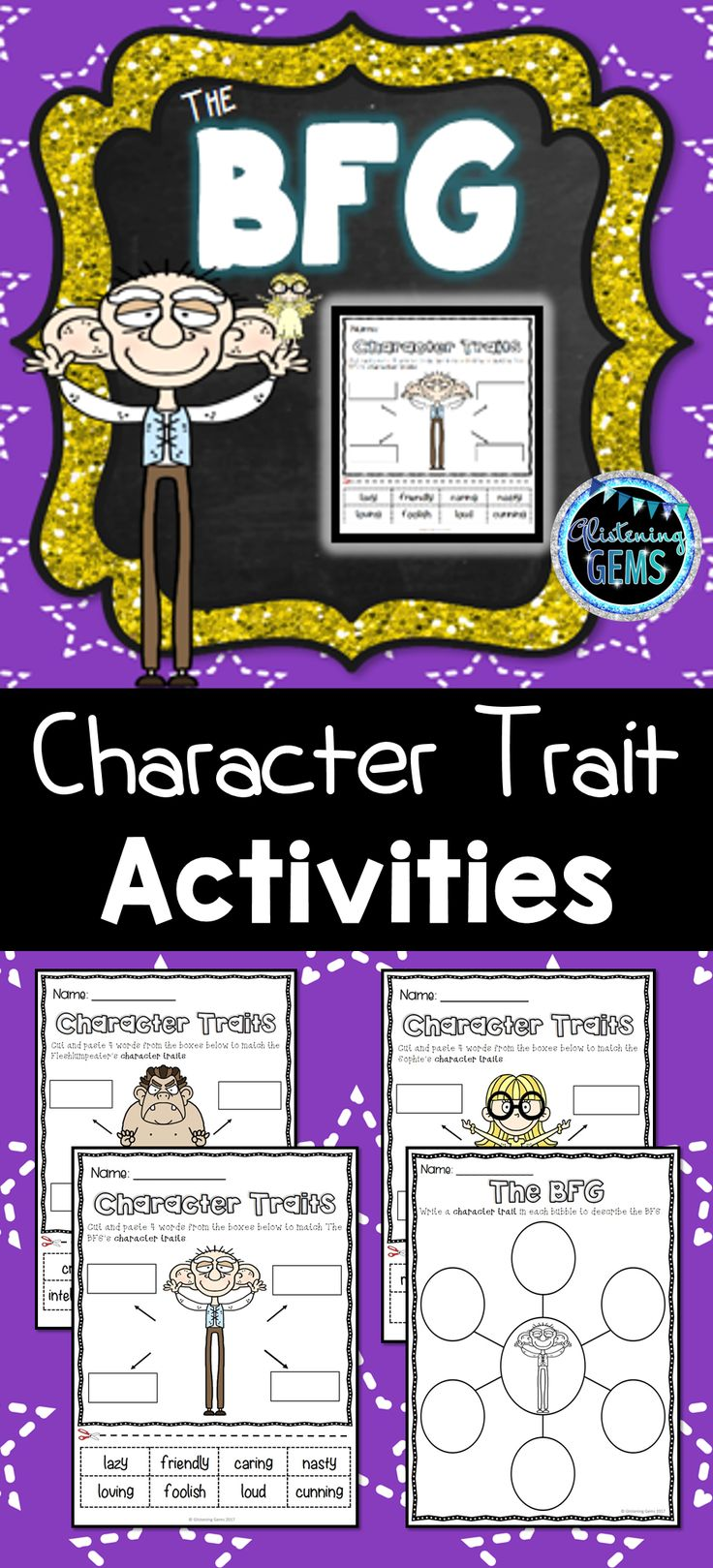The BFG Book Companion including character traits and physical trait NO PREP printables, answer sheets and teacher instructions.