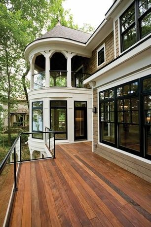 Traditional Deck with French doors, Gazebo, BEHR Premium 1-gal. Redwood Semi-Transparent Weatherproofing Wood Stain