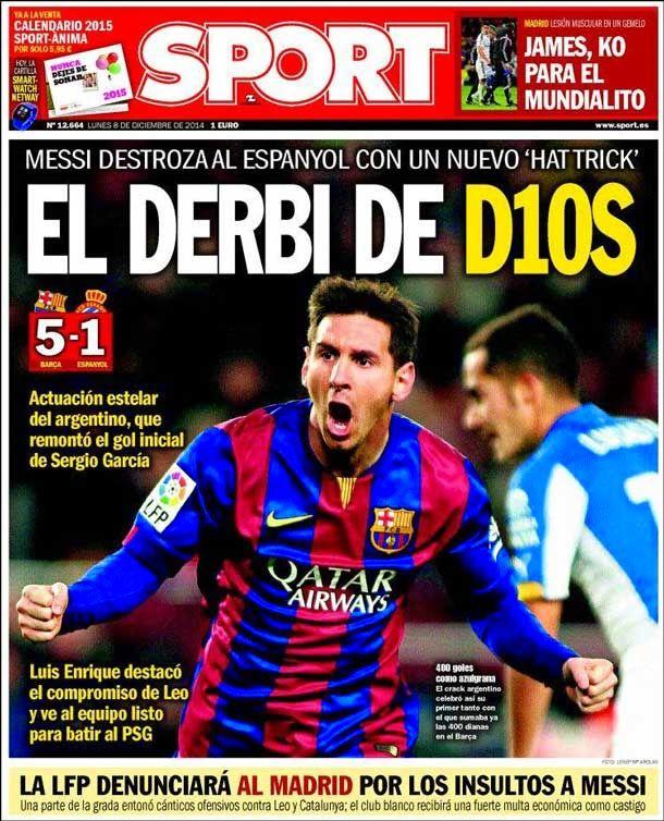 Portada Sport (8/12/2014) - El derbi de D10S - FC Barcelona Noticias