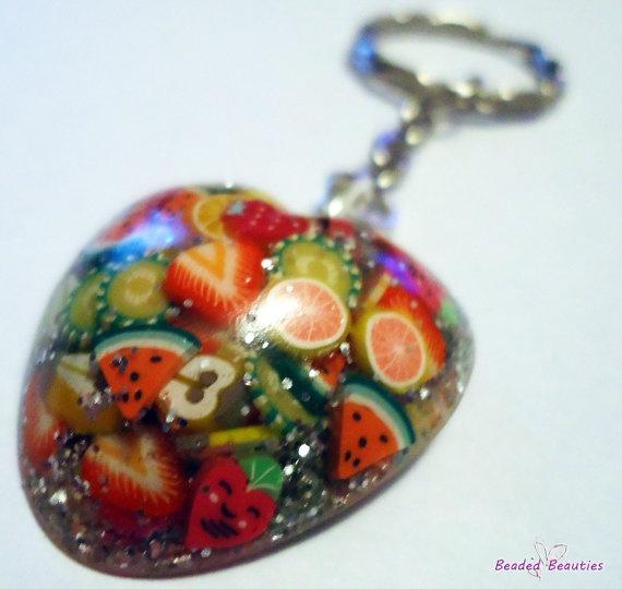Resin Heart Keychain  FRUIT FUSION  Glitter by SBeadedbeauties, £6.00