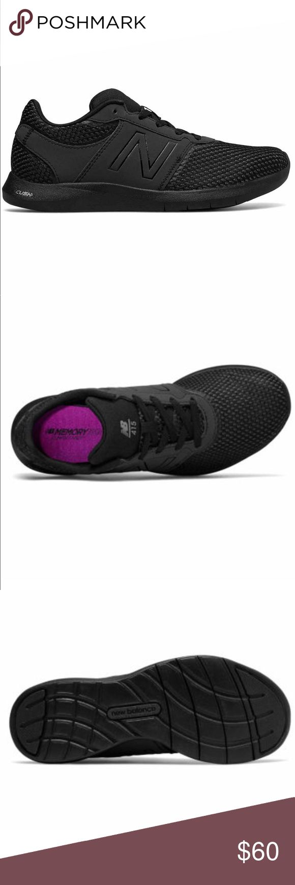 New Balance 415 women's working shoes 12 USA black Product Description Features: Cushioned, Comfort Sole Outer Surf Area: 100% Rubber Shoe Fasten: Lace-Up Upper Outer Surf Area: 100 Mesh Shoe Lining Material: Synthetic Footwear Technology: New Balance Cush+ , Cushioned, Comfort New Balance Shoes Athletic Shoes