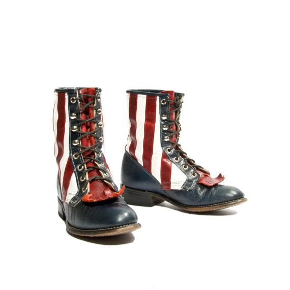 American Flag Patriotic Laredo Lace up Roper Boots Red ...