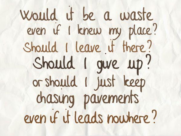 chasing pavements lyrics - Google Search