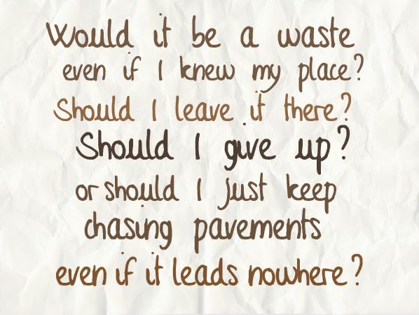 chasing pavements lyrics - Google Search