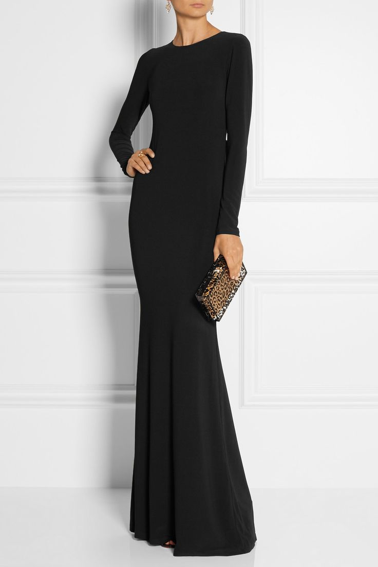 Alice + Olivia Air Mesh-paneled Stretch-crepe Gown (Long sleeves. Floor length. Semi-opaque mesh back. Leather trim. Fluted hem. Black.)