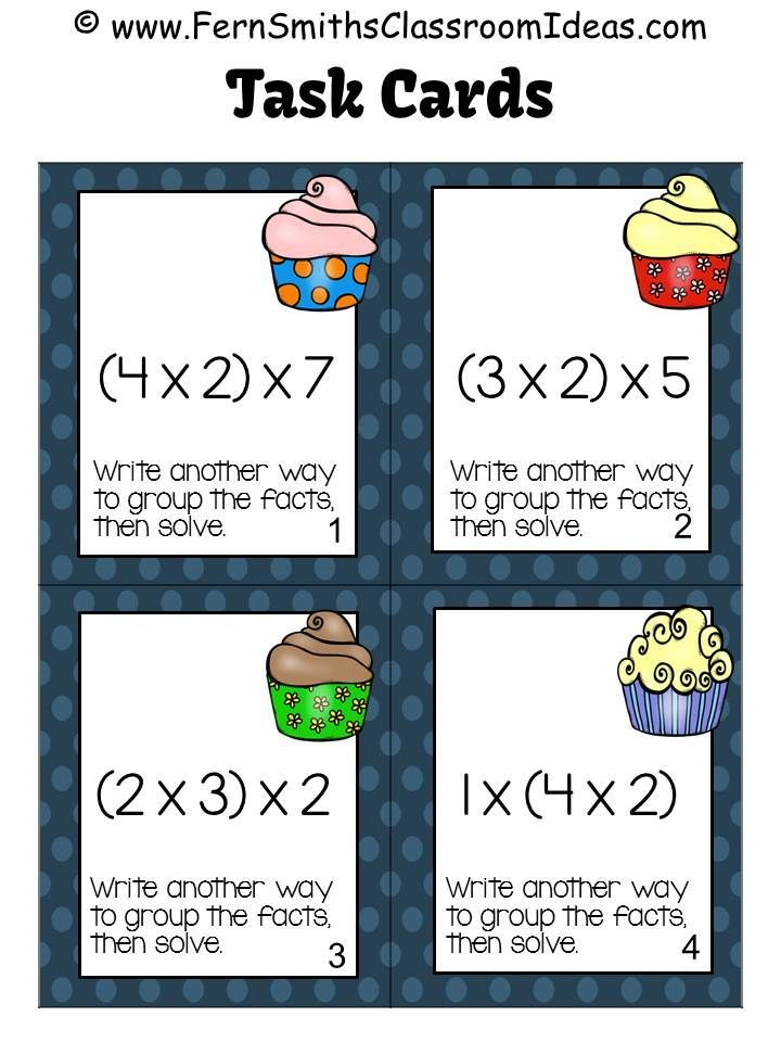 Four #FREE Task Cards To Try Before You Buy ~ Associative Property of Multiplication Task Cards and Recording Sheets with Common Core Listings and a cute Kid and Cupcake Theme.  #TPT $paid