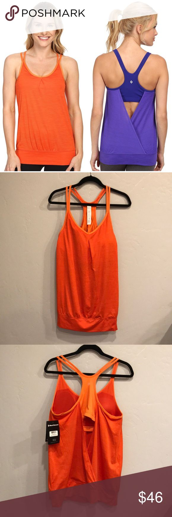 NWT Black Diamond Sheer Lunacy Tank Top - Orange This workout/climbing top is new with tags. It does have one minor imperfection (a slight pull pictured above). It is hardly noticeable when worn. Black Diamond is local to Salt Lake City, Utah (my home). They specialize in outdoor/rock climbing/workout gear and their quality is impeccable! This top is perfect for any of those activities. The color is vibrant orange (I just used the blue one to show fit). Make an offer and add this awesome top…