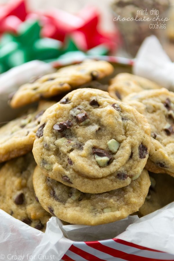 Mint Chip Chocolate Chip Cookies are the perfect chocolate chip cookies filled with mint chips! Great for cookie exchanges - the recipe makes 4 dozen!