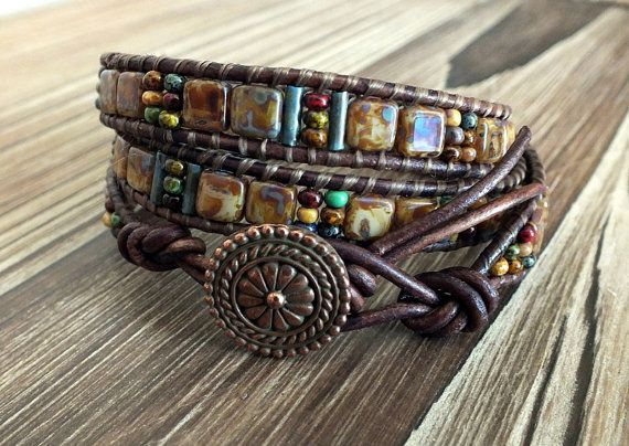 Leather Wrap Bracelet with CzechMates Tile Beads and Czech Picasso Seed Beads, boho bracelet, bohemian bracelet, beaded bracelet