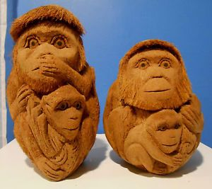 Coconut Carved Monkey Set Great Art work HAND CARVED COCONUT MONKEY APE GORILLA