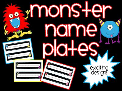"""Monster+Name+Plates+from+Teaching+the+Stars+on+TeachersNotebook.com+-++(20+pages)++-+Personalize+students'+desk+with+these+MARVELOUS+name+plates.+You+can+also+use+these+name+plates+to+label+cubbies,+bins,+and+folders.+  Get+yours+today. -18+name+plates+included-You+print+what+you+need. -Each+name+plate+is+approxiately+3""""+by+9&qu"""