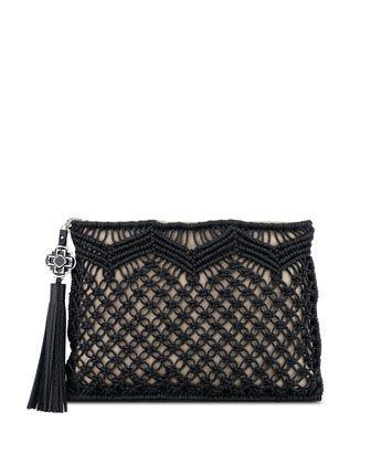 Celia Large Macrame Clutch Bag, Natural/Black by Rafe at Neiman Marcus.